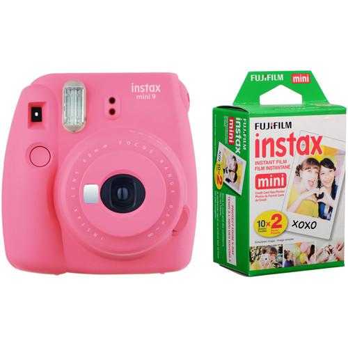 Fujifilm instax mini 9 Instant Film Camera with Instant Film Kit (Flamingo Pink, 20 Exposures)