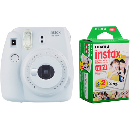 FUJIFILM INSTAX Mini 9 Instant Film Camera with Instant Film Kit (Smokey White, 20 Exposures)