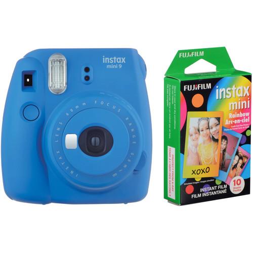 Fujifilm instax mini 9 Instant Film Camera with Rainbow Instant Film Kit (Cobalt Blue, 10 Exposures)