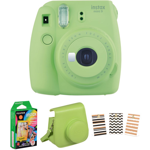 Fujifilm instax mini 9 Instant Film Camera with Rainbow Film and Accessories Kit (Lime Green)