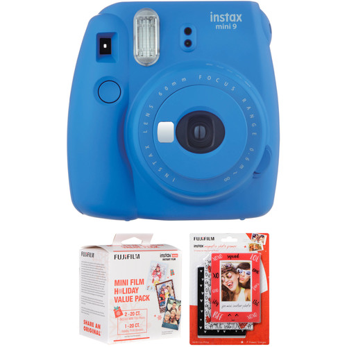 FUJIFILM instax mini 9 Instant Film Camera with Holiday Film Pack and Frame Kit (Cobalt Blue)