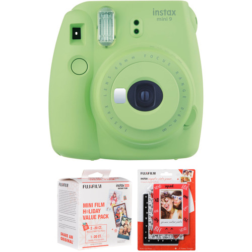 Fujifilm instax mini 9 Instant Film Camera with Holiday Film Pack and Magnetic Frames Kit (Lime Green)