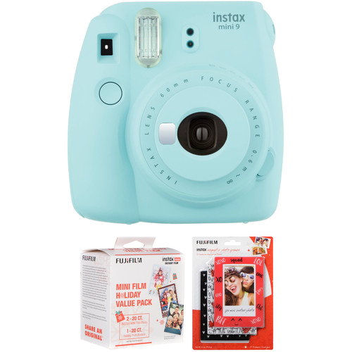 Fujifilm instax mini 9 Instant Film Camera with Holiday Film Pack and Magnetic Frames Kit (Ice Blue)