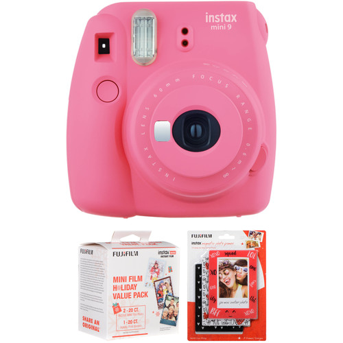 FUJIFILM INSTAX Mini 9 Instant Film Camera with Holiday Film Pack and Magnetic Frames Kit (Flamingo Pink)