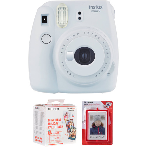 Fujifilm instax mini 9 Instant Film Camera with Holiday Film Pack and Magnetic Frames Kit (Smokey White)