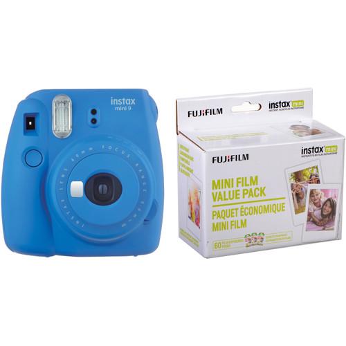 Fujifilm instax mini 9 Instant Film Camera with Instant Film Kit (Cobalt Blue, 60 Exposures)