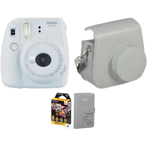 FUJIFILM INSTAX Mini 9 Instant Film Camera with Film and Accessories Kit (Smokey White)