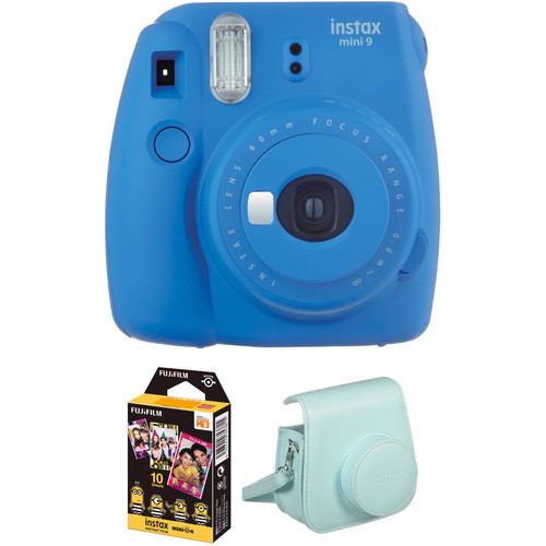 Fujifilm instax mini 9 Instant Film Camera with Instant Film and Case Kit (Cobalt Blue)