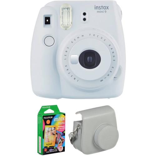 FUJIFILM INSTAX Mini 9 Instant Film Camera with Instant Film and Case Kit (Smokey White)