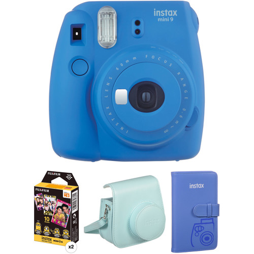 FUJIFILM INSTAX Mini 9 Instant Film Camera with Film and Accessories Kit (Cobalt Blue)