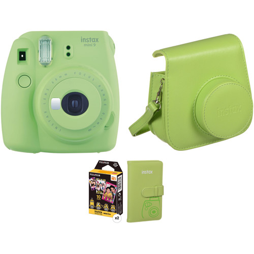 FUJIFILM INSTAX Mini 9 Instant Film Camera with Film and Accessories Kit (Lime Green)