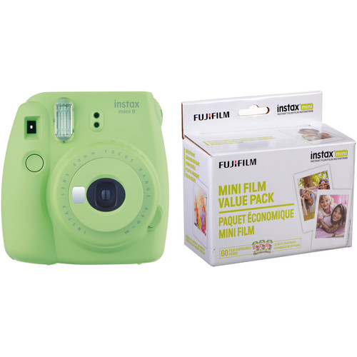 FUJIFILM INSTAX Mini 9 Instant Film Camera with Instant Film Kit (Lime Green, 60 Exposures)