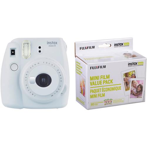 FUJIFILM INSTAX Mini 9 Instant Film Camera with Instant Film Kit (Smokey White, 60 Exposures)