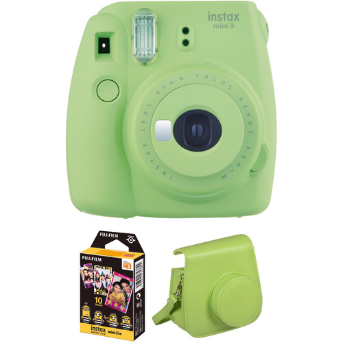 FUJIFILM INSTAX Mini 9 Instant Film Camera with Instant Film and Case Kit (Lime Green)
