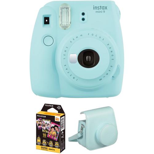 FUJIFILM INSTAX Mini 9 Instant Film Camera with Instant Film and Case Kit (Ice Blue)