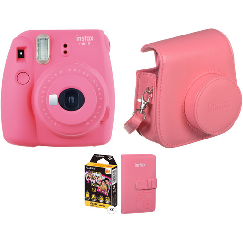 FUJIFILM INSTAX Mini 9 Instant Film Camera with Film and Accessories Kit (Flamingo Pink)