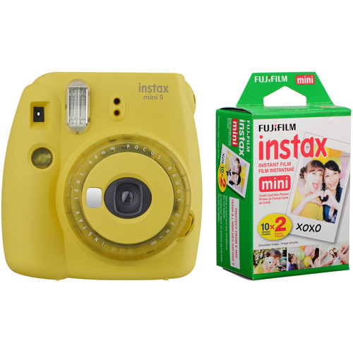 FUJIFILM INSTAX Mini 9 Instant Film Camera with Instant Film Kit (Yellow with Clear Accents, 20 Exposures)