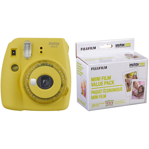 FUJIFILM INSTAX Mini 9 Instant Film Camera with Instant Film Kit (Yellow with Clear Accents, 60 Exposures)