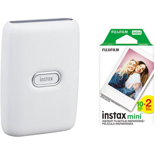 FUJIFILM INSTAX Mini Link Smartphone Printer (Ash White) with Instant Film (20 Color Exposures)