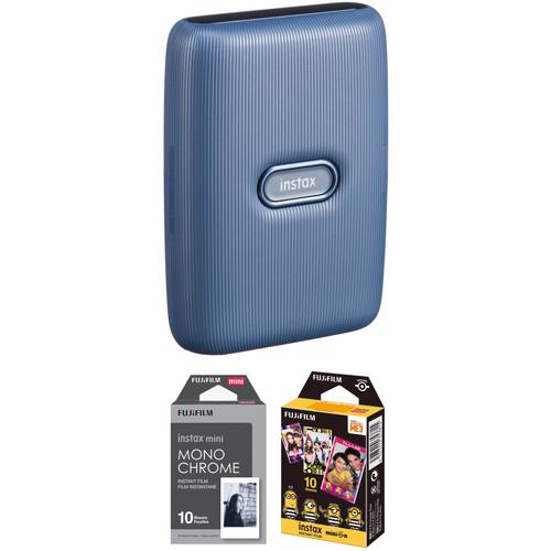 FUJIFILM INSTAX Mini Link Smartphone Printer (Dark Denim) with Instant Film (10 Monochrome & 10 Color Exposures)