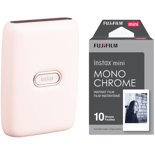 FUJIFILM INSTAX Mini Link Smartphone Printer (Dusky Pink) with Instant Film (10 Monochrome Exposures)