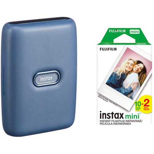 FUJIFILM INSTAX Mini Link Smartphone Printer (Dark Denim) with Instant Film (20 Color Exposures)