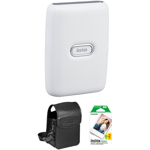 FUJIFILM INSTAX Mini Link Smartphone Printer (Ash White) with Carry Pouch and Instant Film (20 Color Exposures)