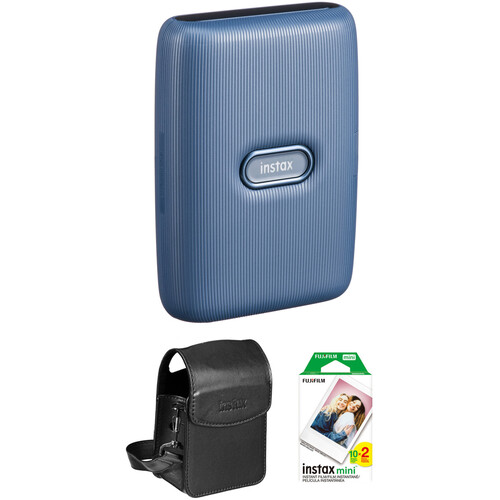 FUJIFILM INSTAX Mini Link Smartphone Printer (Dark Denim) with Carry Pouch and Instant Film (20 Color Exposures)