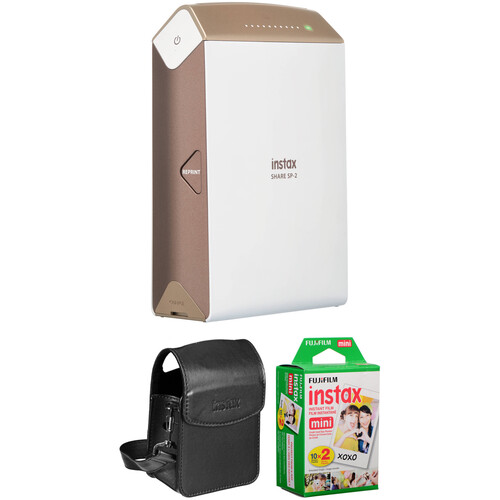 FUJIFILM INSTAX SHARE Smartphone Printer SP-2 with Carry Pouch and Instant Film Kit (Gold)