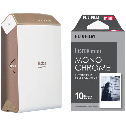 Fujifilm instax SHARE Smartphone Printer SP-2 with Monochrome Instant Film Kit (Gold)