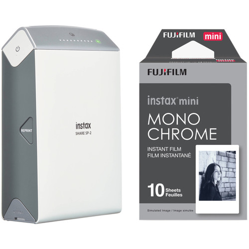 Fujifilm instax SHARE Smartphone Printer SP-2 with Monochrome Instant Film Kit (Silver)