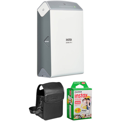 FUJIFILM INSTAX SHARE Smartphone Printer SP-2 with Carry Pouch and Instant Film Kit (Silver)