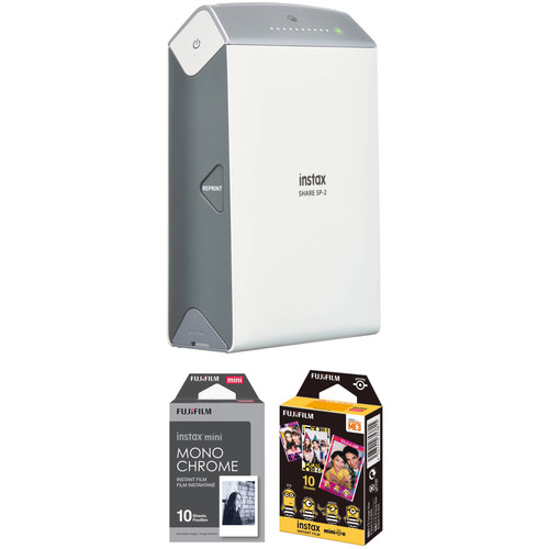 FUJIFILM INSTAX SHARE Smartphone Printer SP-2 with Monochrome and Candy Pop Film Kit (Silver)