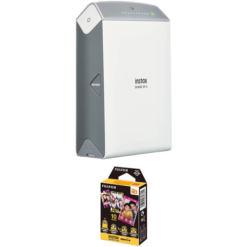 Fujifilm instax SHARE Smartphone Printer SP-2 with Airmail Film Kit (Silver)