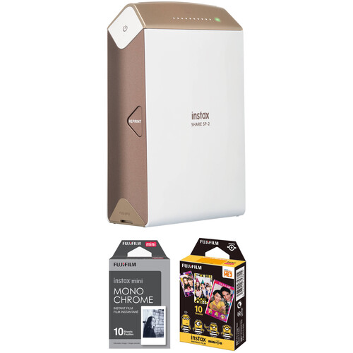 FUJIFILM INSTAX SHARE Smartphone Printer SP-2 with Monochrome and Candy Pop Film Kit (Gold)