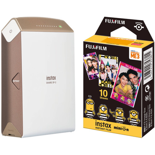 FUJIFILM INSTAX SHARE Smartphone Printer SP-2 with Airmail Film Kit (Gold)