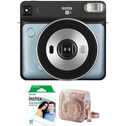 FUJIFILM INSTAX SQUARE SQ6 Instant Film Camera with Film and Case Kit (Aqua Blue)