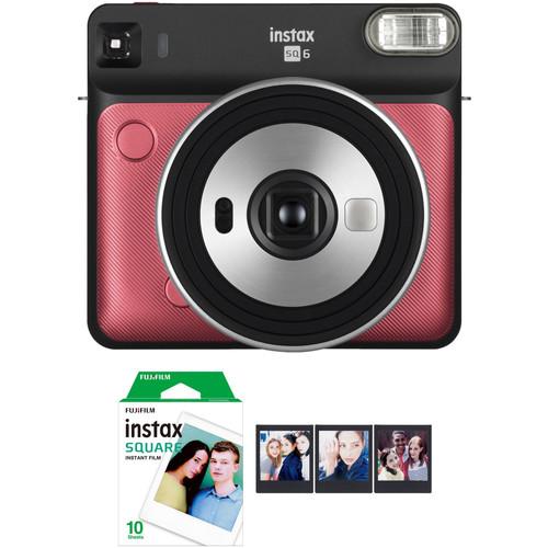 FUJIFILM INSTAX SQUARE SQ6 Instant Film Camera with Film Bundle (Ruby Red)