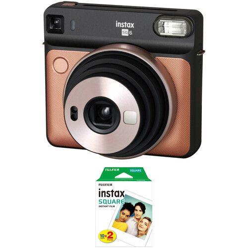 FUJIFILM INSTAX SQUARE SQ6 Instant Film Camera with Twin Pack of Film Kit (Blush Gold)