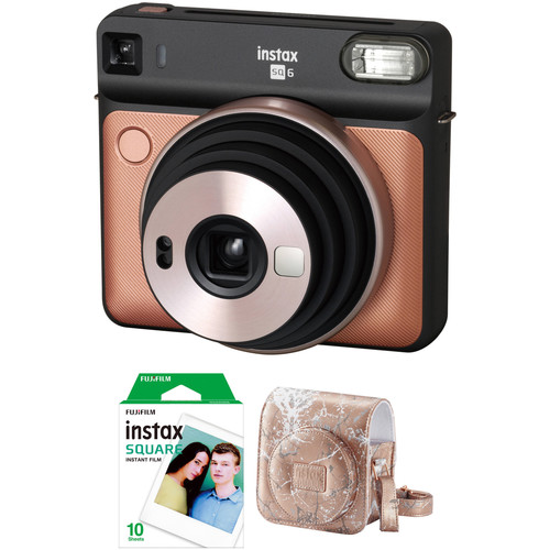 FUJIFILM INSTAX SQUARE SQ6 Instant Film Camera with Film and Case Kit (Blush Gold)