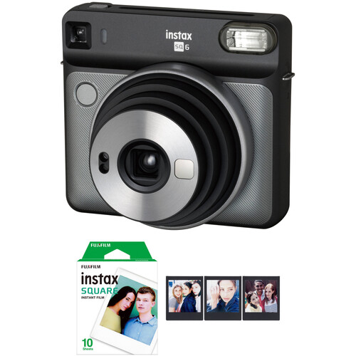 FUJIFILM INSTAX SQUARE SQ6 Instant Film Camera with Film Bundle (Graphite Gray)
