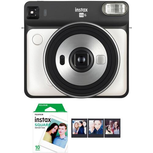FUJIFILM INSTAX SQUARE SQ6 Instant Film Camera with Film Bundle (Pearl White)
