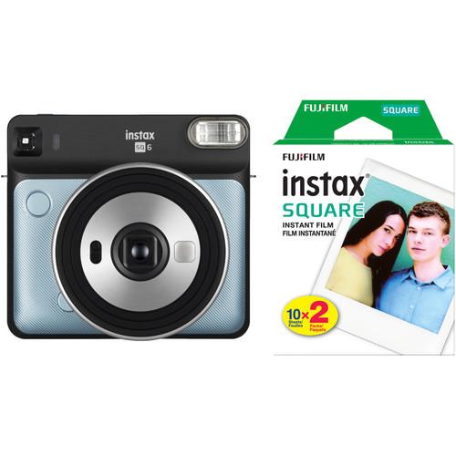 FUJIFILM INSTAX SQUARE SQ6 Instant Film Camera with Twin Pack of Film Kit (Aqua Blue)