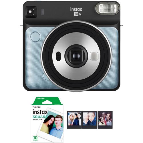 FUJIFILM INSTAX SQUARE SQ6 Instant Film Camera with Film Bundle (Aqua Blue)