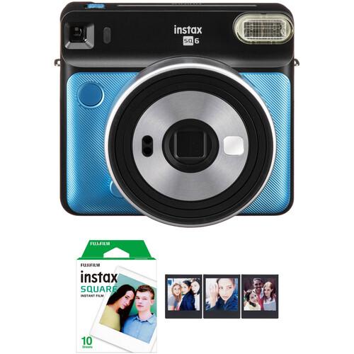 FUJIFILM INSTAX SQUARE SQ6 Instant Film Camera with Film Bundle (Metallic Blue)