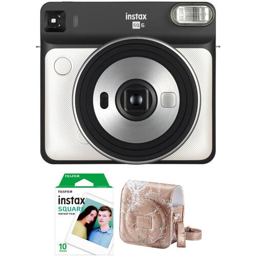FUJIFILM INSTAX SQUARE SQ6 Instant Film Camera with Film and Case Kit (Pearl White)