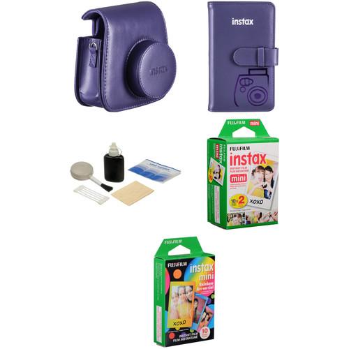Fujifilm Starter Kit for instax mini 8 Instant Film Camera (Grape)