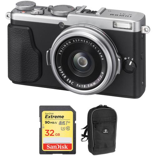 Fujifilm X70 Digital Camera with Free Accessory Kit (Silver)