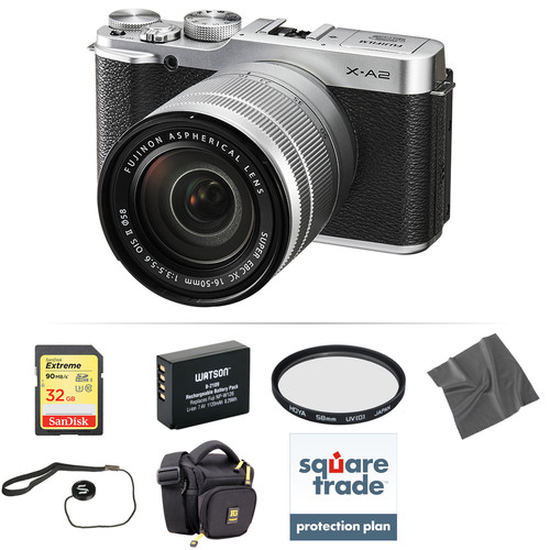 Fujifilm X-A2 Mirrorless Digital Camera with 16-50mm Lens Deluxe Kit (Silver)
