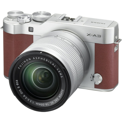 Fujifilm X-A3 Mirrorless Digital Camera with 16-50mm and 50-230mm Lenses Kit (Brown)